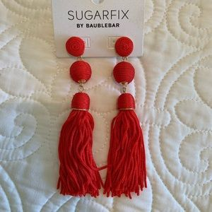 BaubleBar Jewelry - Bauble Bar Red Tassel Earrings